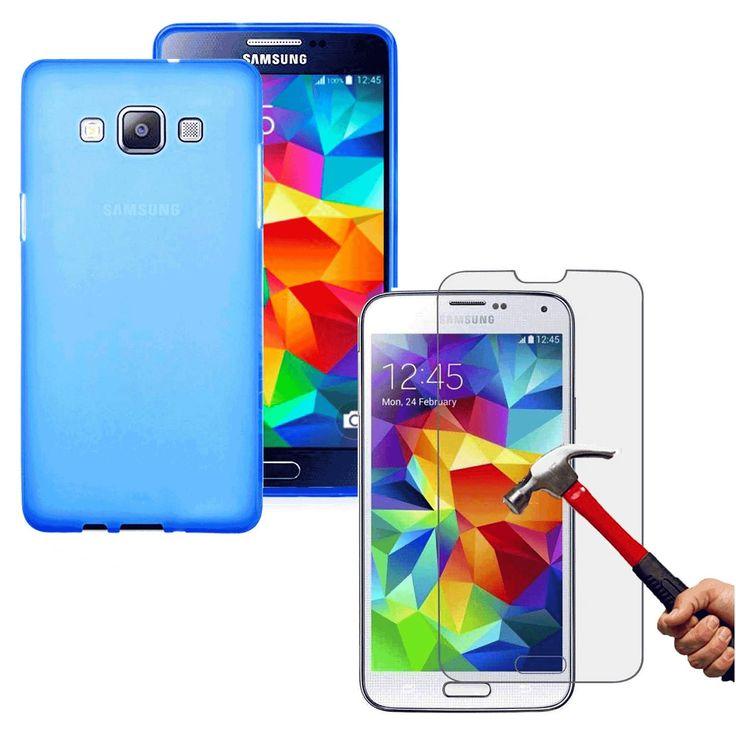 Samsung Galaxy S3 MİNİ MAVİ Silikon Kılıf  Kırılmaz Cam