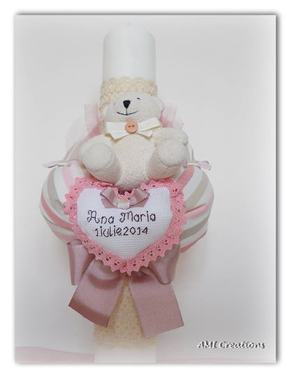 Christening candle handmade decorated