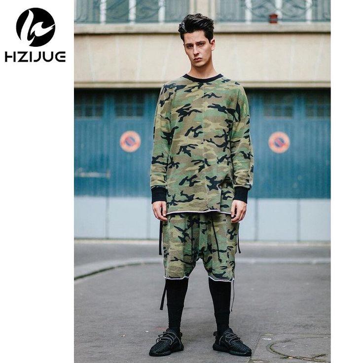 Camo Hip Hop justin bieber Clothes Street Wear Kpop urban Clothing Mens Long Sleeve Longline shirt swag Clothes