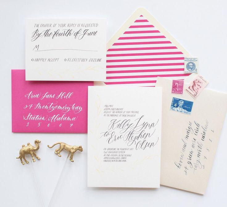 fuchsia wedding invitations, bright pink wedding invitation, whimsical wedding invitation, striped envelope liner, vintage stamps