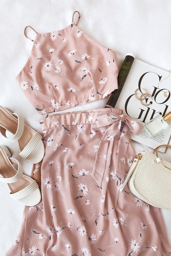 Sophina Blush Pink Floral Print Wrap Midi Skirt 2