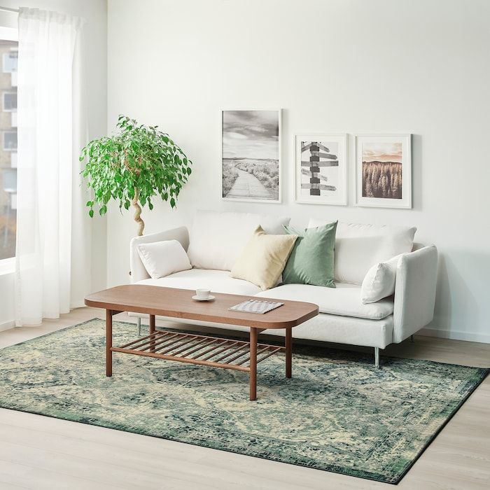 Vonsbak Rug Low Pile Green Length 9 10 Ikea Green Rug Living Room Rugs In Living Room Living Room Green