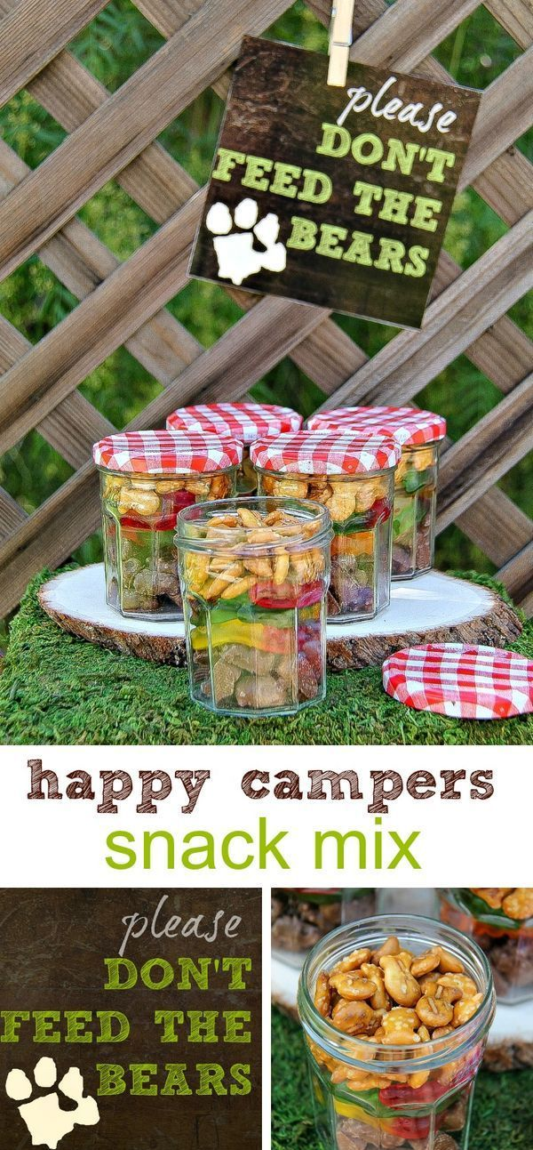 Happy campers snack mix with free printable #GoldfishTales #sponsored
