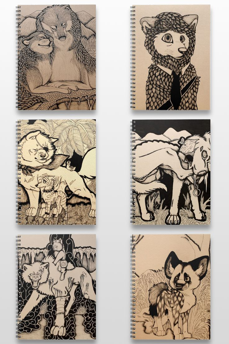 Black and White Dog And Wolf Notebooks #products #gifts #art #illustration #sepia