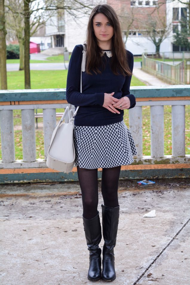 women 39 s navy crew neck sweater white and black gingham skater skirt black leather knee high. Black Bedroom Furniture Sets. Home Design Ideas