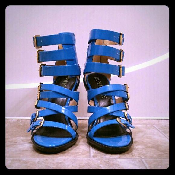 NWOT Blue Strappy Sandals Heels Zip Back NWOT Paper Fox blue strappy sandal heels with zipper back. Gold buckle details. Paper Fox Shoes Heels