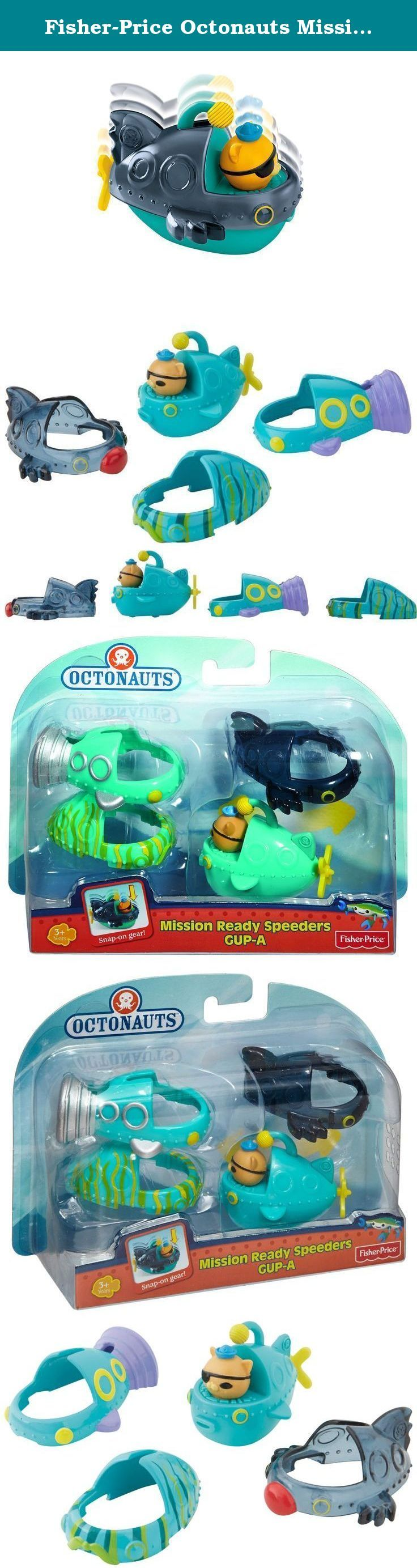 Fisher-Price Octonauts Mission Ready Gup Speeders Gup-A. No mission is impossible when you have the right gear and gadgets for your Gap Speeders! Designed to outfit your mini Gap-A for every adventure, these Snap-On shells allow you to disguise and gear up your Gap! Cover the Gap with kelp camouflage, travel at top speed with a turbo transformation, or explore in super stealth mode with a shadow shell! Includes the Gap-A Gap Speeder driven by Kwazii and three Snap-On accessories. Collect…