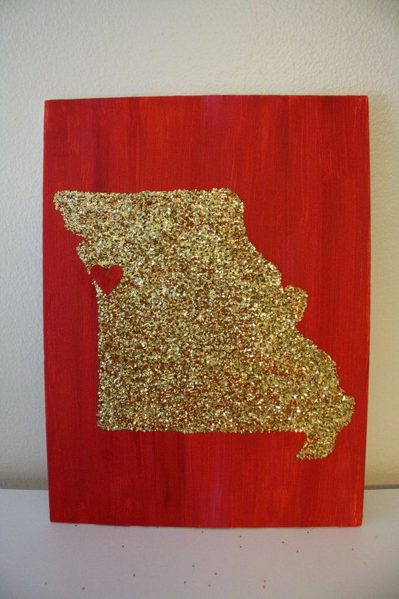State canvas, order at https://www.etsy.com/listing/168403538/glittered-state-canvas-missouri-kansas?ref=shop_home_feat_2 DIY