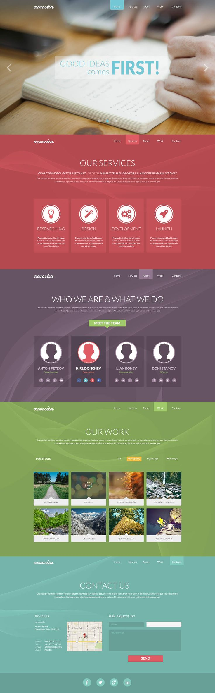Acrostia One Page PSD Website Template