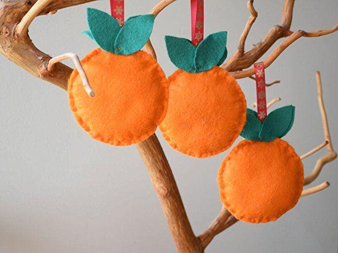 Weihnachten Ornament Filz Ornamente Orange Nursery Dekor Verzierungen Kinderzimmerdekoration Frucht Obst Dekoration Baby Geschenk Walddekor Weihnachtsbevorzugungen Party Bevorzugung Weihnachtsgeschenk Verzierungen