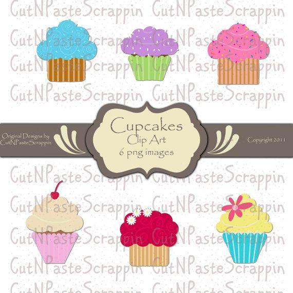 Cupcakes Digital Clip Art  6 PNG Images  by CutNPasteScrappin, $2.50