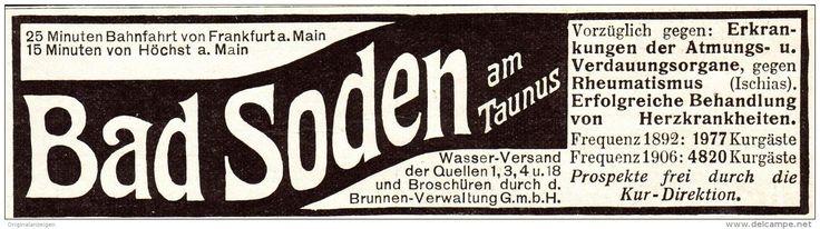 Original-Werbung/ Anzeige 1907 -  BAD SODEN IM TAUNUS - Ca. 120 X 30 Mm - Werbung