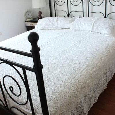 100% Cotton Handmade Crochet Bedspread With Pillowcases Cheap http://s.click.aliexpress.com/e/YB66uJ2nM Crocheted Coverlets Bed Linen White Lace Bedding Sets Fast Delivery-in Bedding Sets from Home & Garden on Aliexpress.com | Alibaba Group