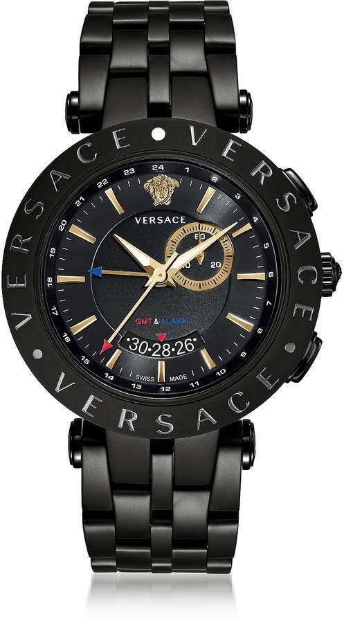 d890a8027 Versace V-Race GMT Alarm Black Plated Men's Watch v roce 2019 ...