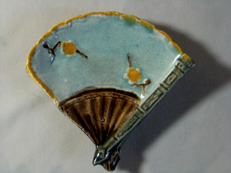 Antique Majolica small fan. Butter pat? Miniature?