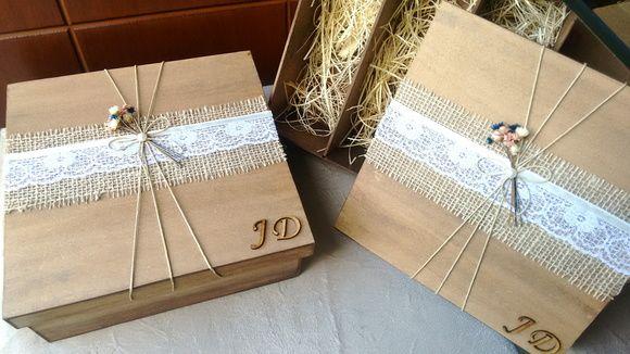 Caixa rústica padrinhos de casamento | Empório Beatriz | Elo7