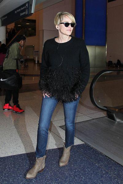 Sharon Stone Photos Photos - Sharon Stone is seen at LAX on March 15, 2016. - Sharon Stone is Seen at LAX