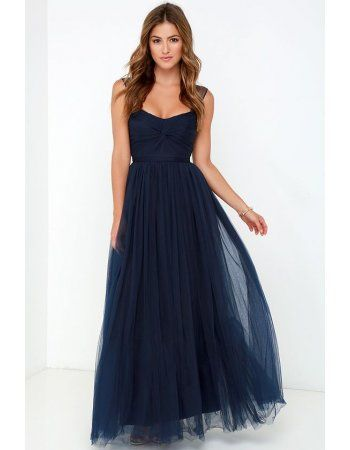 A-line Queen Anne Neck Long A-line Dark Navy Tulle Junior Prom Dress