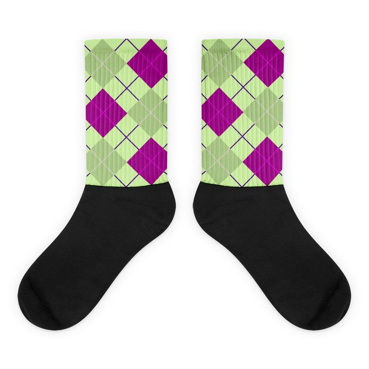 Green/Pink Tartan Black foot socks