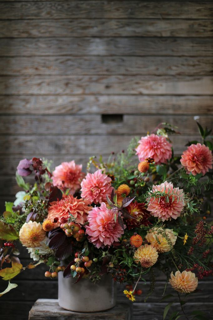 Crabapples, rosehips, forsythia foliage, viburnum foliage, dahlias, yarrow, 'Persian carpet' zinnias, solidago