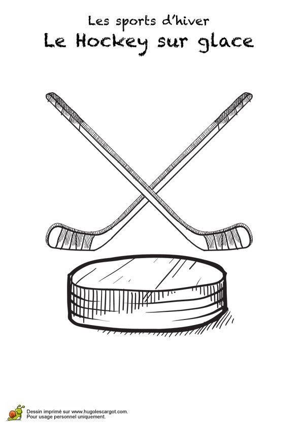 Image de deux crosses et une rondelle de hockey sur glace, à colorier.
