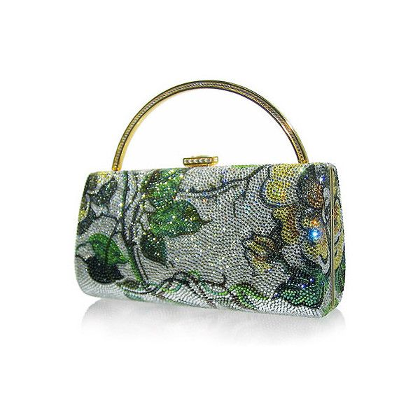 Judith Leiber Imperial Delight Clutch Shows Ultimate Luxury ($3,995) ❤ liked on Polyvore featuring bags, handbags, clutches, judith leiber, purses, green, hand bags, green clutches, green handbag and green purse