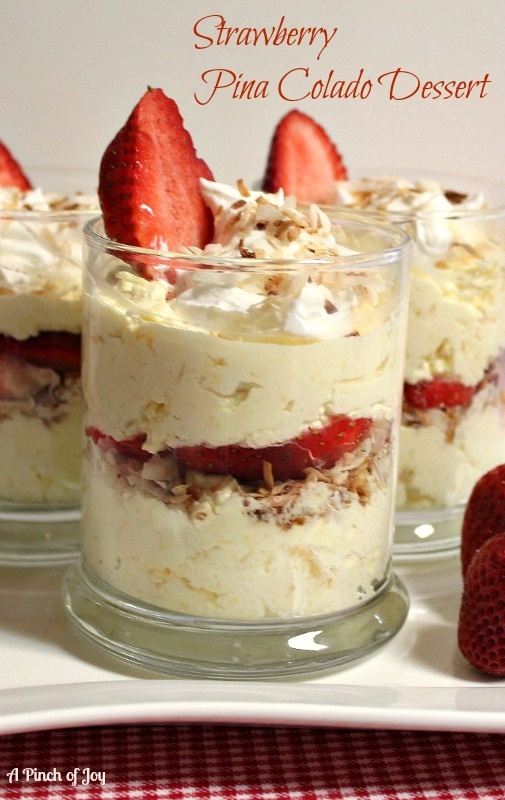 Strawberry Piña Colada Dessert - super easy, uses instant vanilla pudding, cool whip, fresh strawberries, pineapple and toasted coconut
