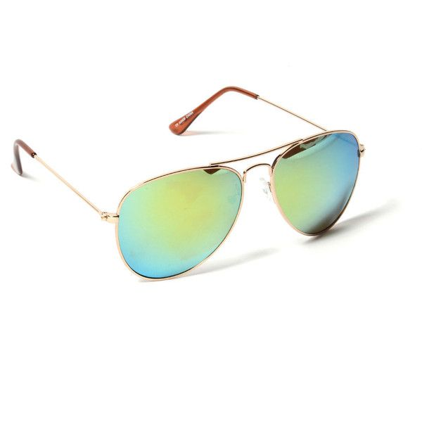 Chris Mirrored Aviators ($15) ❤ liked on Polyvore featuring accessories, eyewear, sunglasses, gold, aviator sunglasses, mirrored aviator glasses, mirror glasses, mirrored sunglasses and mirror aviator glasses