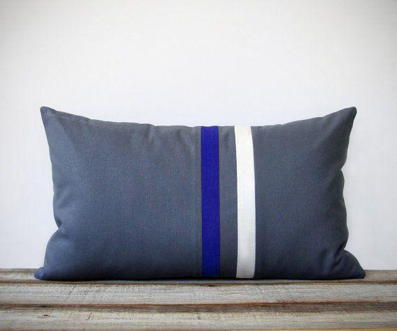Cobalt Blue And Gray Striped Pillow 12x20 Modern Home