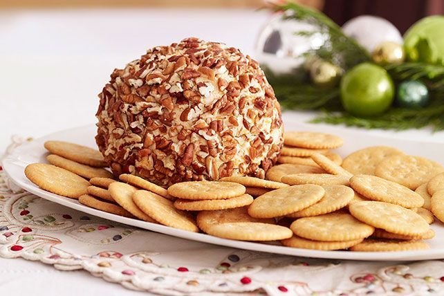 Known to frequent holiday open houses, this creamy cheese ball appetizer with a nutty exterior doesn't stick around long.