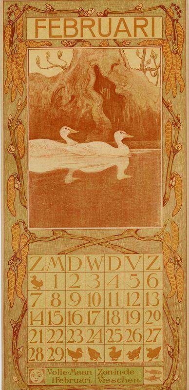 Theo Van Hoytema Kalender 1904 February Kunst En Kalender