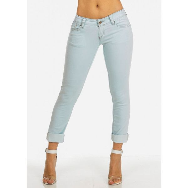 Women's Juniors Mint Blue low Rise Cropped Jeans ($25) ❤ liked on Polyvore featuring jeans, blue jeans, cropped jeans, low rise jeans, mint jeans and mint green jeans