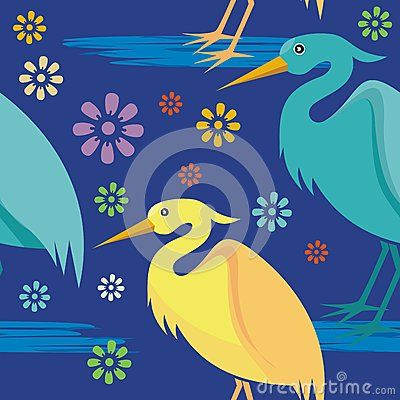 Stork cartoon seamless pattern with flower