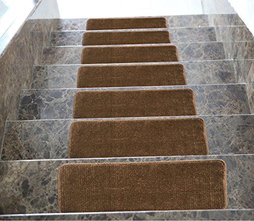 Best Softy Stair Treads Solid Brown Set Of 7 Skid Resistant 640 x 480