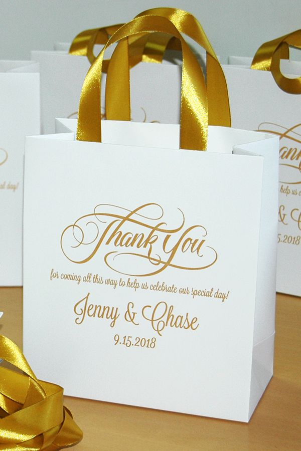 35 Gold Wedding Welcome Bags With Satin Ribbon Handles And Your