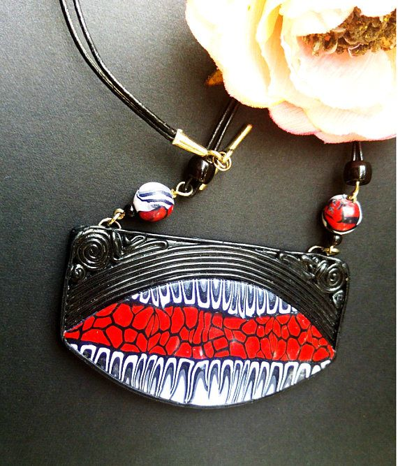 Black & red pendant necklace Jewelry Black white jewerly large