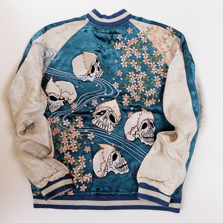 Japanese Classic Script Skulls Skeleton Punk Rock Tattoo Art Yakuza Embroidered Souvenir Sukajan Jacket - Japan Lover Me Store
