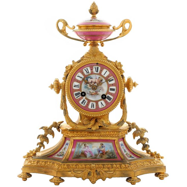 French, Ormolu and Pink Porcelain Mantel Clock, circa 1870