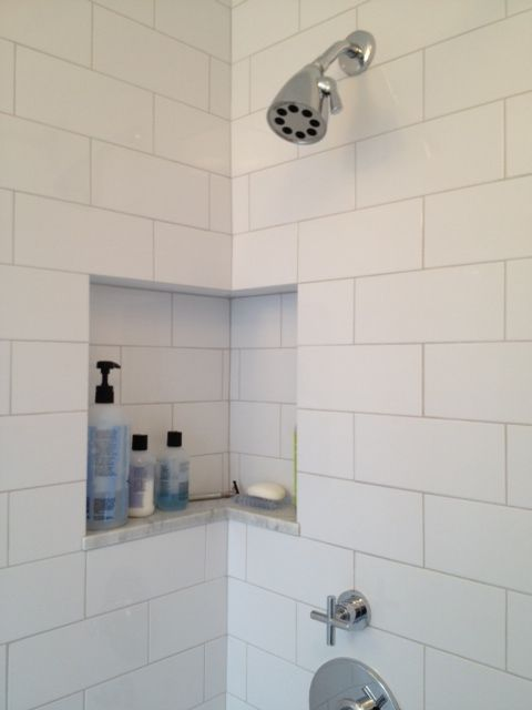 subway tile shower niche google search
