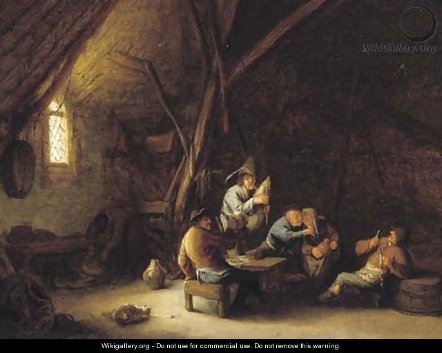 Un interno fienile con allegra compagnia e un suonatore di cornamusa - (dopo) Adriaen Jansz van Ostade.