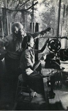 Robert Flaherty, editing one of his films.
