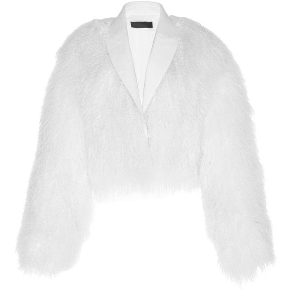 Haider Ackermann Mongolian Lamb Fur Bomber (€4.110) ❤ liked on Polyvore featuring outerwear, jackets, white, collar jacket, cropped fur jackets, cropped bomber jacket, cropped jacket and white jacket