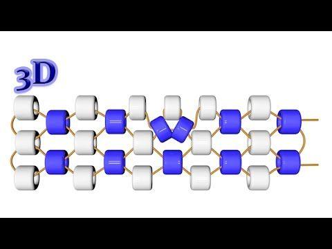 Мозаичное плетение. Прибавление бисерин в середине ряда. 3D урок - YouTube