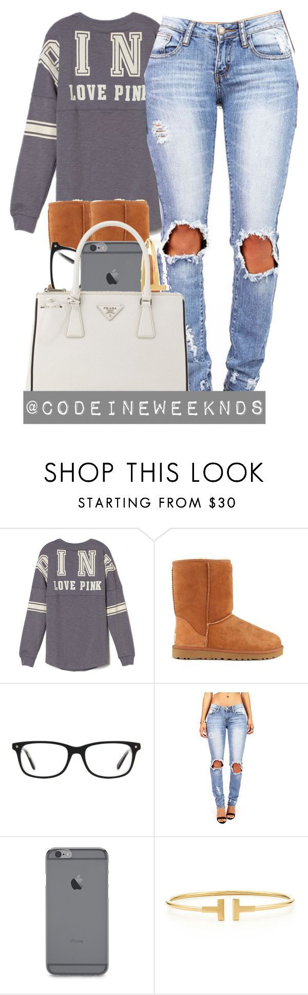 12/20/15 by codeineweeknds ❤ liked on Polyvore featuring Victorias Secret PINK, UGG Australia, Kensington Road, Tiffany  Co., Prada, womens clothing, women, female, woman and misses