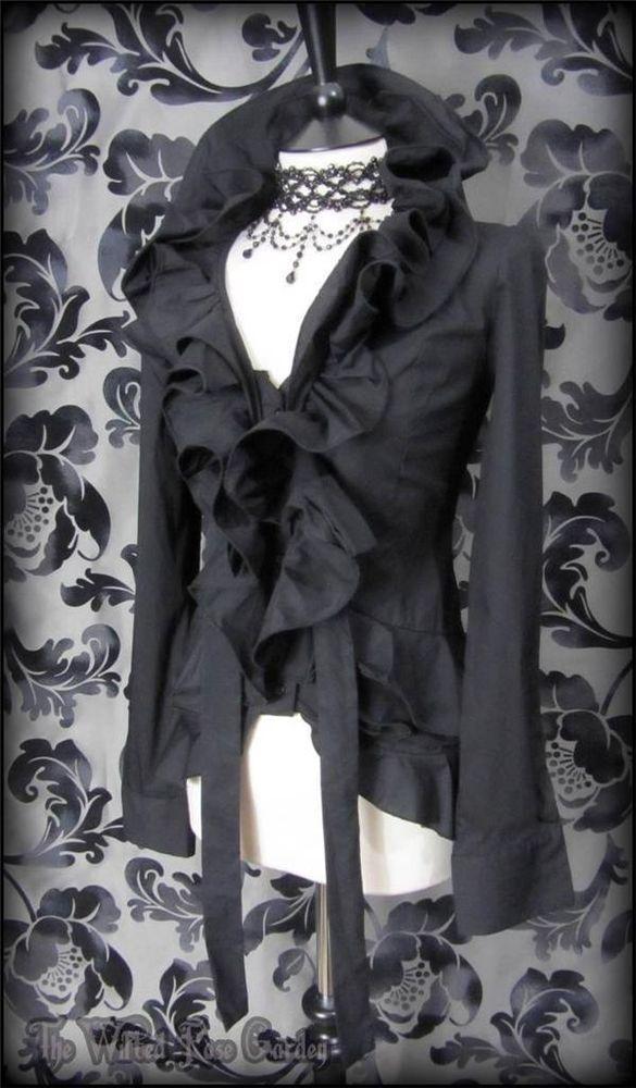 Elegant Gothic Black Ruffle High Collar Blouse 10 12 M Dramatic Victorian Vamp   THE WILTED ROSE GARDEN