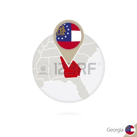 Mapa del estado de Georgia Estados Unidos y la bandera en círculo. Mapa de Georgia, Georgia pin de la bandera. Mapa de Georgia en el estilo del globo. Ilustración del vector.