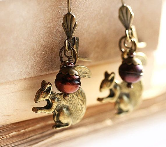 Squirrel earrings Woodland Jewelry Squirrel by MayaHoneyJewelry, Nature lover gift