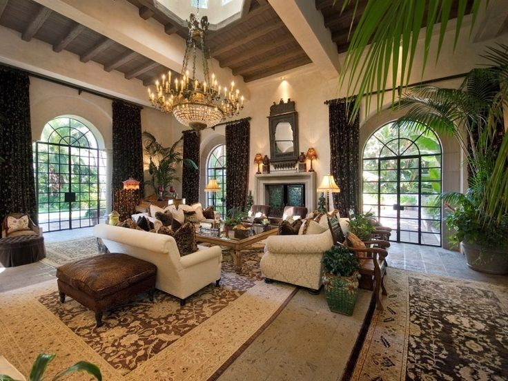 Traditional Living Room with limestone tile floors, Carpet ...