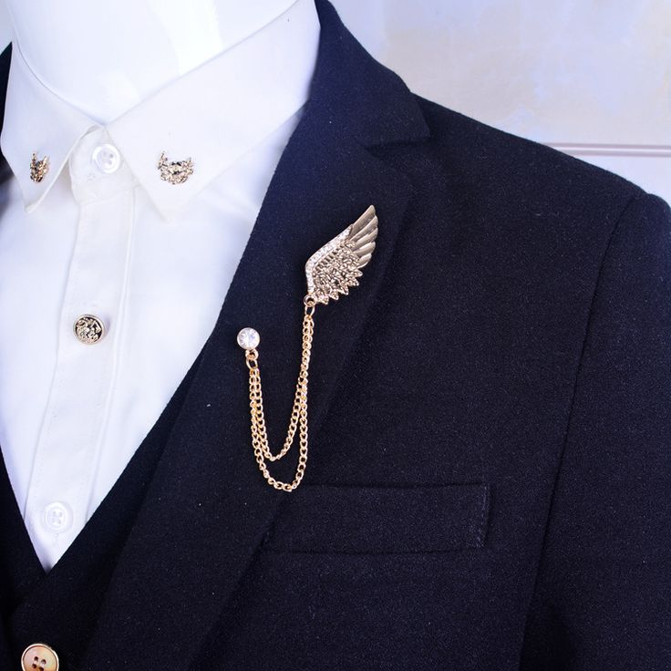 Angel wings Brooch Mens suit collar crystal metal wings