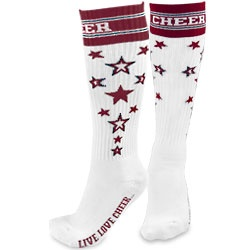 Chassé Knee High Cheerleading Uniform Sock with Embroidered Stars
